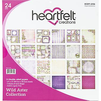 "Heartfelt Creations Double-Sided Paper Pad 12""X12"" 24/Pkg-Wild Aster"