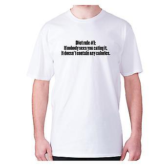 Mens Funny foodie t-paita isku lause tee syöminen hilpeä-ruoka Valio sääntö #1 Jos kukaan ei näe syö sitä, se ei ' t sisältävät kaloreita