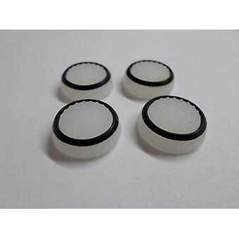 Glow in the dark dotted thumbstick grips for ps4  - 4 pack white & black | zedlabz