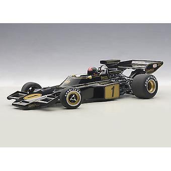 Lotus 72 E met driver figuur (Emerson Fittipaldi-1973) composiet model auto