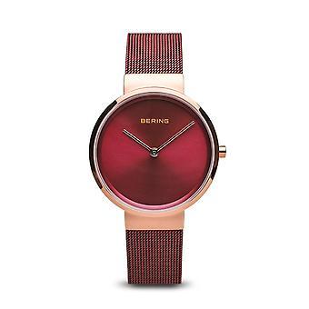 Uhr Bering 14531-363 - Rosa gold Stahl Rahmen glänzend rot rot Stahl Armband rot Frauen