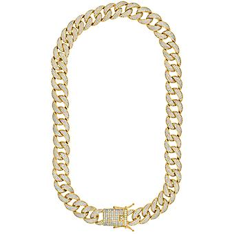 925 Sterling Silver Yellow Tone Mens CZ Cubic Zirconia Simulated Diamond Miami Curb Chain 16mm 24 Inch Jewelry Gifts for