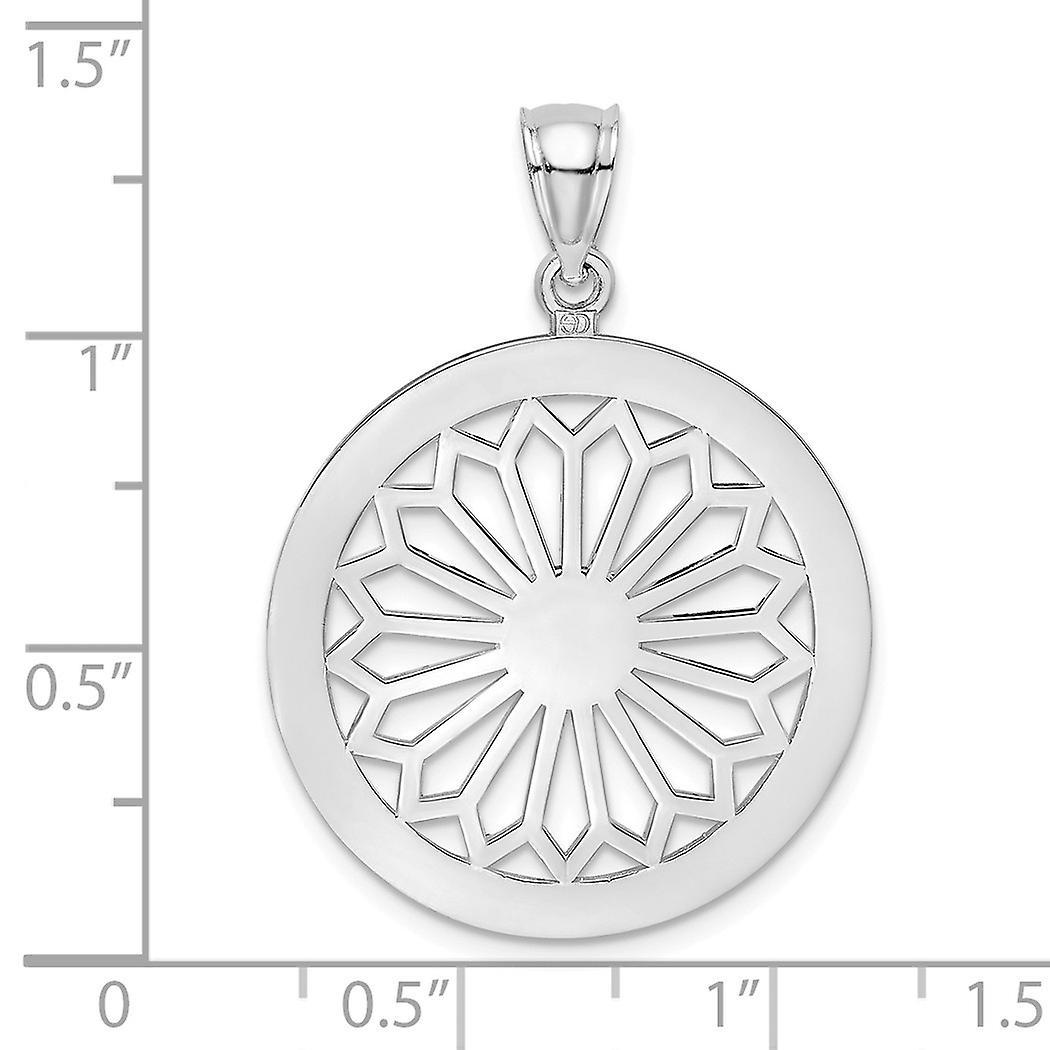 14k White Gold White Retro Daisy In Round Frame Gate Jewelry Charm Pendant Necklace Jewelry Gifts for Women