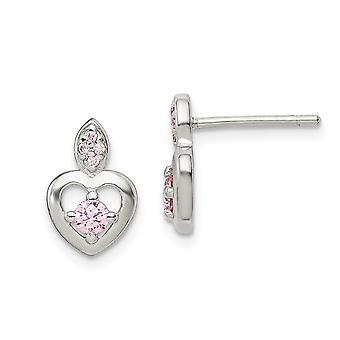 925 Sterling Argent Rose CZ Cubic Zirconia Simulated Diamond Love Heart Post Boucles d'oreilles Bijoux Bijoux pour les femmes