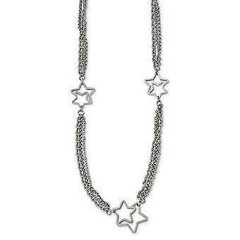 Edelstahl poliert Stern Halskette 30 Zoll Schmuck Geschenke für Frauen