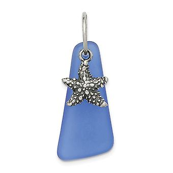925 Sterling Silver Blue Sea Glass Starfish Pendant Necklace Jewelry Gifts for Women