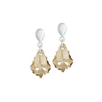 Eternal Collection Barokke Gouden Schaduw Oostenrijkse Crystal Silver Tone Drop Clip Op Oorbellen