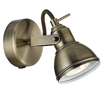 THLC 1541ab Focus Industrial Style Antique Brass 1 Way Single Spotlight