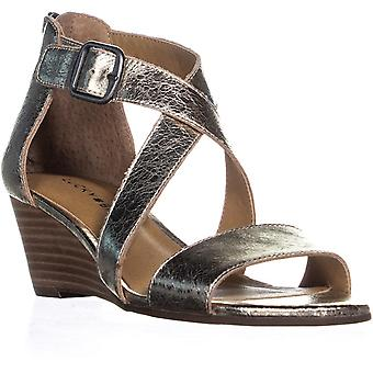 Sandálias de plataforma Casual marca sorte das mulheres Jenley couro dedo aberto