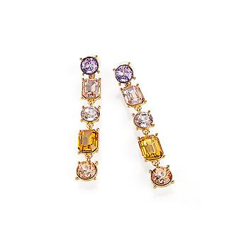 Gold and Lilac Bead Drop Earrings