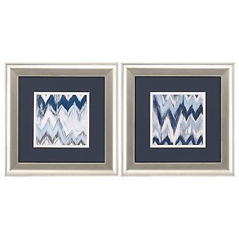 "13"" X 13"" Brushed Silver Frame Chevron Pattern (Set of 2)"