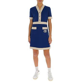 Gucci 606017xka4a4492 Femmes-apos;s Robe beige/laine bleue