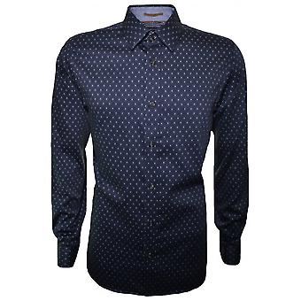 Ted Baker Men's Navy Blue Hartbop Long Sleeve Shirt