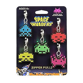 Key Chain - Space Invader - Alien Zipper Pulls Set of 5 SIL112