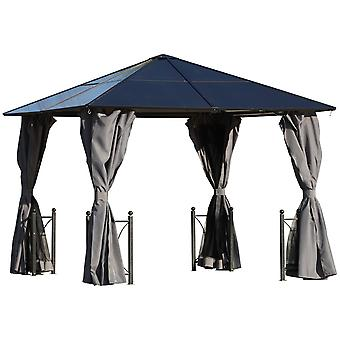 Outsunny 3 x3 (m) Patio Garden PC Board Aluminium Hardtop Gazebo Party Wedding Marquee Tent with Curtains and Netting - Black