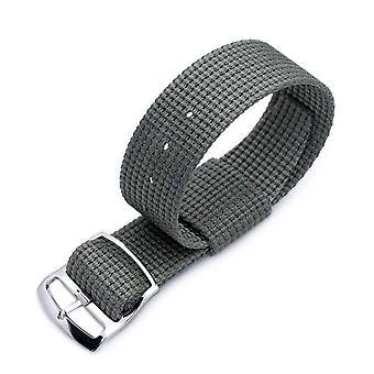 Strapcode n.a.t.o watch strap zulu g10 20mm or 22mm miltat raf n7 3-d woven nylon military grey, polished ladder lock slider buckle