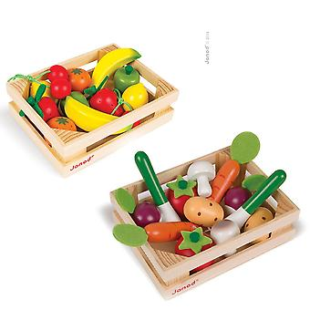 2 Janod Wooden food crates, 12 Vegetables and 12 Fruits