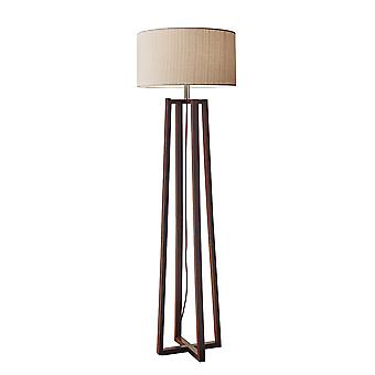 "19"" X 19"" X 60"" Walnut Wood Fabric Floor Lamp"
