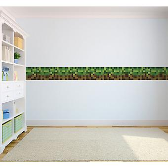 Ready Steady Bed Pixels Design Children's Self Adhesive Vinyl Wallpaper Border 5 Metres Long - Green/Brown