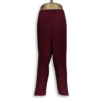 Susan Graver Women-apos;s Petite Pants 20WP Side Zippered Ankle Red A256554