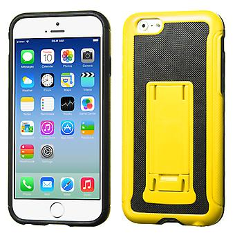 Asmyna Leather Backing Advanced Armor Stand Case pour iPhone 6/6S - Jaune/Noir
