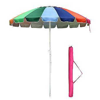 Yescom 7 ft Metal Rainbow Beach Patio Umbrella 16 Rib Tilt Market Table Umbrella Outdoor Sunshade Cover Sand Anchor