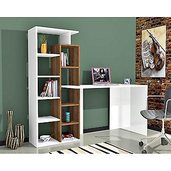 Poly Color White bureau, Melaminic Chip Nut, PVC 181.8x60x148,2 cm