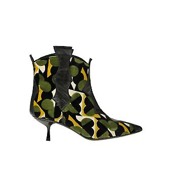 Ncub Ezgl391018 Women's Multicolor Velvet Ankle Boots