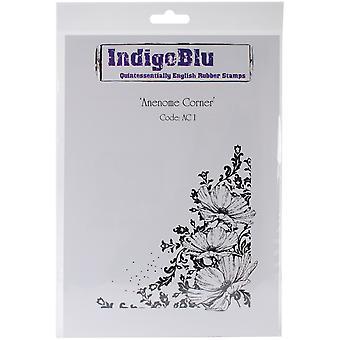 "IndigoBlu Cling Mounted Stamp 9""X6.5""-Anenome Corner"