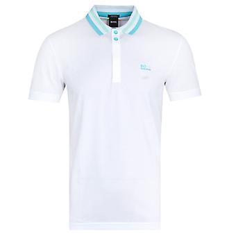 Boss Paddy Contrast Collar White Polo Shirt