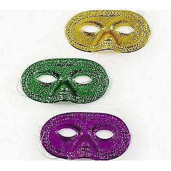 12 Assorted Glitter Mardi Gras Masks to Decorate for Crafts