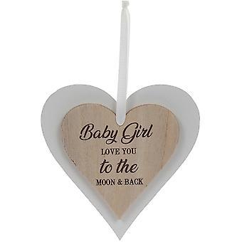 Sentiments Baby Girl Wooden Hearts Plaque