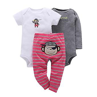 3Pcs Baby Outfit,Bodysuit, Top And Pants -Pirate