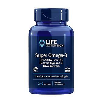 Omega-3 EPA / DHA com lignanas de gergelim e extrato de azeitona 240 pérolas