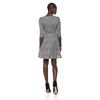Marke - Lark & Ro Frauen's Drei Viertel Ärmel stricken Fit und Flare Kleid, Tear Drop Ditsy, groß
