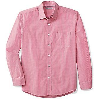 أساسيات الرجال العادية تناسب طويل الأكمام عارضة بوبلين قميص، الأحمر ميني غينغهام، كبير