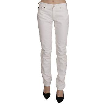 White Cotton Stretch Skinny Casual Denim Pants Jeans -- PAN7563120