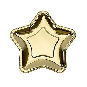 20PCS Pentagram Disposable Paper Plates Party Decor Gold