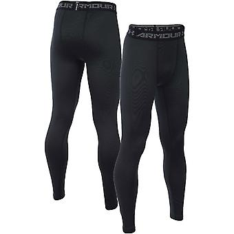 Under Armour Boys ColdGear Running Training Compressie Broek Leggings - Zwart