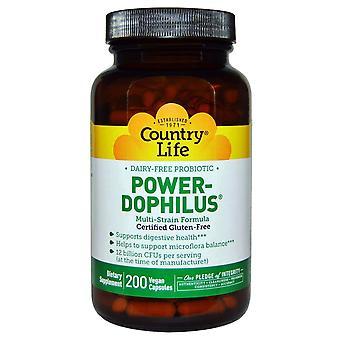 Country Life, Probiotique sans produits laitiers, Power-Dophilus, 200 capsules végétaliennes