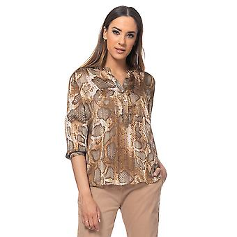 Snake print blouse with lurex, v neck and pocket