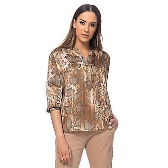 Blusa de estampa de cobra com lurex, decote v e bolso