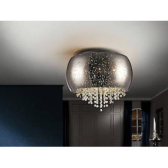 5 Light Crystal Flush Ceiling Light Chrome, G9