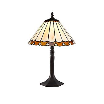 1 Light Octagonal Table Lamp E27 With 30cm Tiffany Shade, Amber, Crystal, Aged Antique Brass