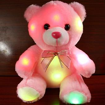 צבעוני הוביל זוהר חמוד קטן דוב ממולא בובה לילה אור חיות צעצועים לילדים