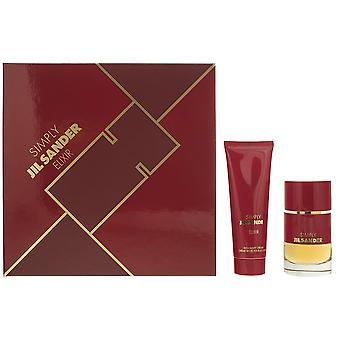 Jil Sander Simply Elixir Eau de Parfum 40ml & Rich Body Cream 75ml Gift Set NEW.