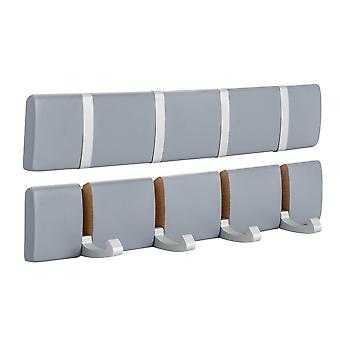 Wooden Wall Mount Coat Rack - 4 Foldaway Metal Hooks - Grey - Pack of 2