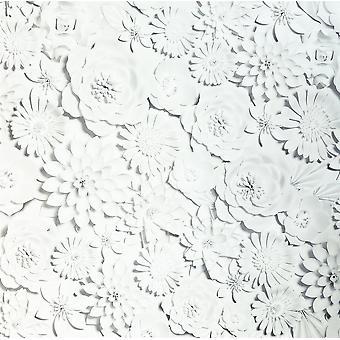 3D Effect Flower Wall White Wallpaper Floral Roses Garden Matt Modern Arthouse