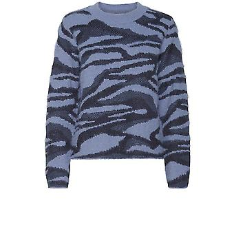 b.young Nolle Blau gemusterter Pullover