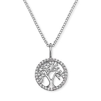 Angel Whisperer Little Tree Of Life Sterling Silver Zirconia Rhodium Colar Banhado ERN-LILTREE-ZI